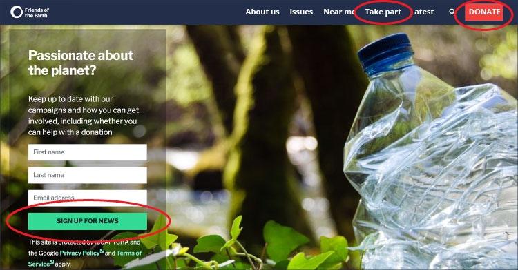 Screenshot of FOE website home page
